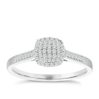 9ct White Gold 0.15ct Diamond Cluster Ring - Product number 3956229