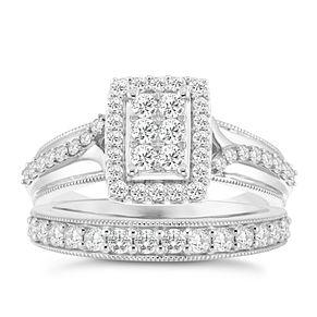 9ct White Gold 4 5ct Diamond Perfect Fit Bridal Set H Samuel