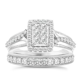 9ct White Gold 4/5ct Diamond Perfect Fit Bridal Set - Product number 3956784