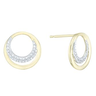 9ct Yellow Gold & Diamond Circle Earrings - Product number 3957233