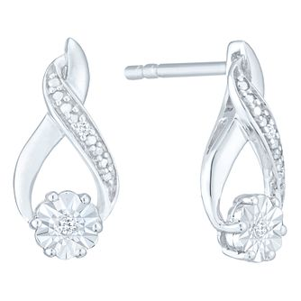 Sterling Silver & Diamond Flower Cluster Earrings - Product number 3957241