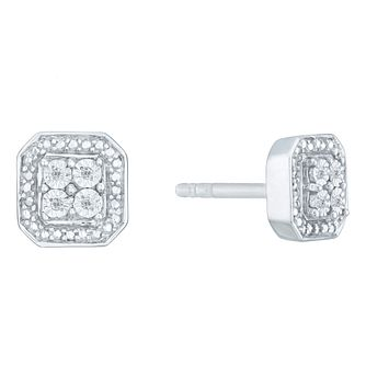 Sterling Silver & Diamond Square Cluster Earrings - Product number 3957268
