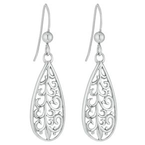 Silver Rhodium Long Filigree Drop Earrings - Product number 3958620