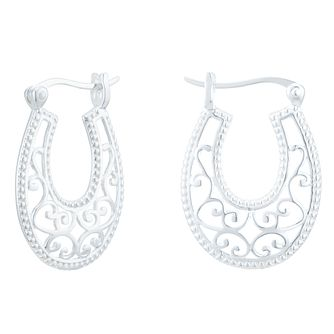Sterling Silver Filigree Oval Creole Earrings - Product number 3958701
