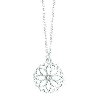 Sterling Silver Crystal Filigree Flower Pendant - Product number 3958809