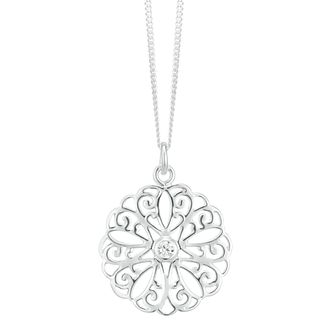 Sterling Silver Cubic Zirconia Large Filigree Flower Pendant - Product number 3958817