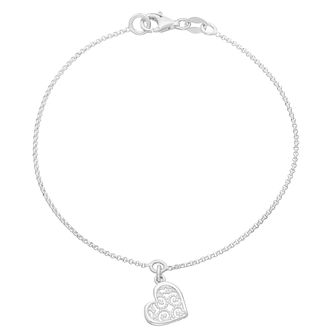 "Sterling Silver 7.5"" Filigree Heart Charm Bracelet - Product number 3958930"