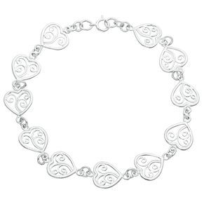 Sterling Silver Filigree Heart Bracelet - Product number 3958973