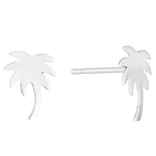 Sterling Silver Plain Palm Tree Stud Earrings - Product number 3959074