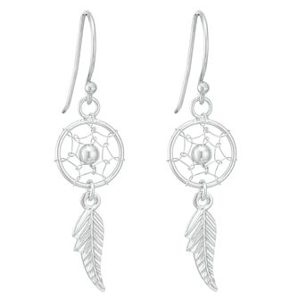 Sterling Silver Dreamcatcher Design Drop Earrings - Product number 3959252
