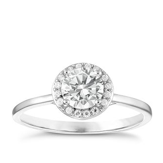 Sterling Silver Cubic Zirconia Halo Ring Size L - Product number 3959414