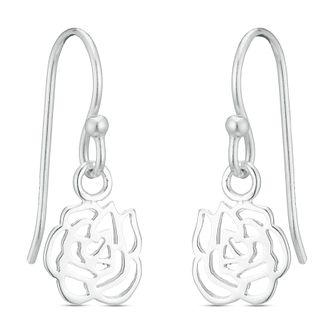 Sterling Silver Cut Out Flower Drop Earrings - Product number 3959511