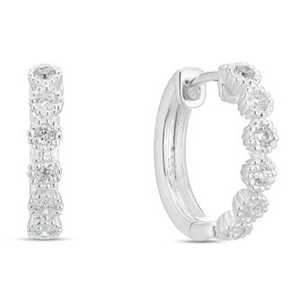 Sterling Silver Cubic Zirconia Small Hoop Earrings - Product number 3959554