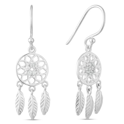 Sterling Silver Cubic Zirconia Dreamcatcher Drop Earrings - Product number 3959562