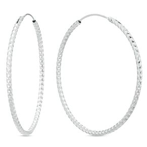 Sterling Silver Diamond Cut 50mm Hoop Earrings - Product number 3959635