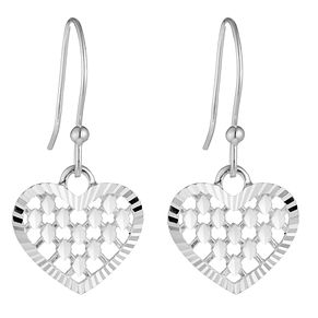 Sterling Silver Diamond Cut Heart Drop Earrings - Product number 3959643