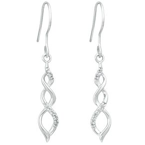 Sterling Silver Twisted Cubic Zirconia Drop Earrings - Product number 3959724