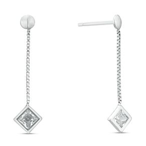 Sterling Silver Cubic Zirconia Long Drop Earrings - Product number 3959732