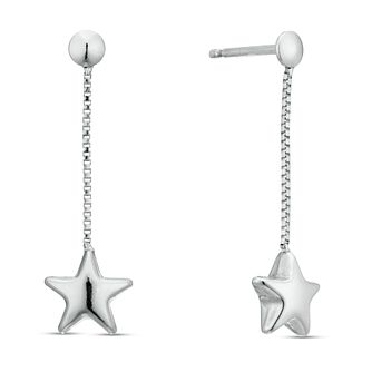 Sterling Silver Star Long Drop Earrings - Product number 3959740