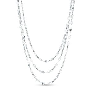 "Sterling Silver 16"" Three Strand Disc Chain Necklace - Product number 3959872"