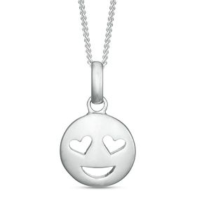 Sterling Silver Heart Smiley Emoticon Pendant - Product number 3960145