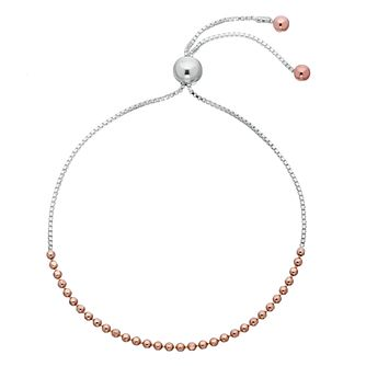 Sterling Silver Rose Gold Plated Bead Adjustable Bracelet - Product number 3960331