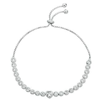 Silver Rhodium Cubic Zirconia Heart Adjustable Bracelet - Product number 3960382