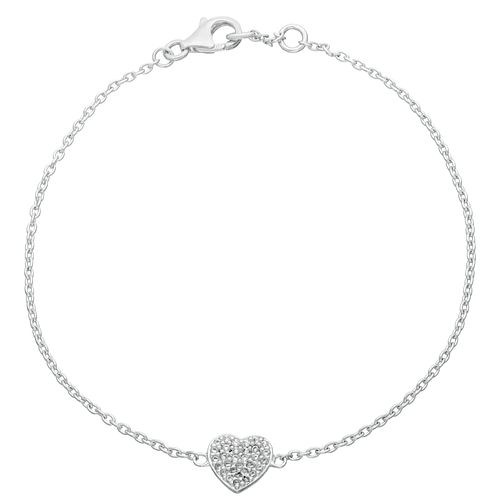 Sterling Silver Cubic Zirconia Single Heart Bracelet - Product number 3960404