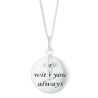 Sterling Silver 'I Am With You Always' Disc Pendant Necklace - Product number 3960773