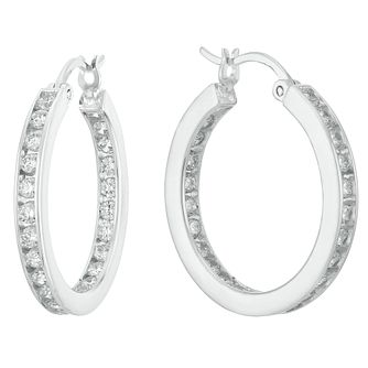 Sterling Silver Cubic Zirconia Channel Set Hoop Earrings - Product number 3961362