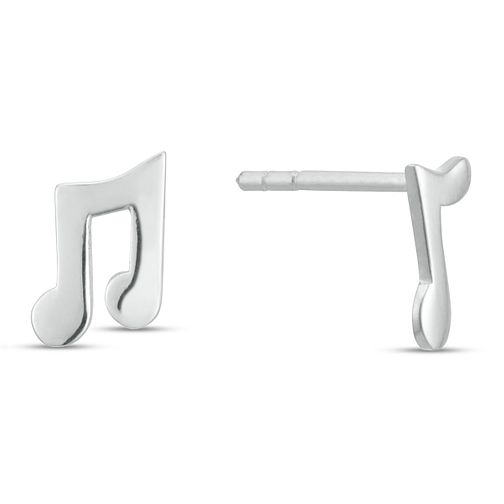 Sterling Silver Music Note Mismatched Stud Earrings - Product number 3961397