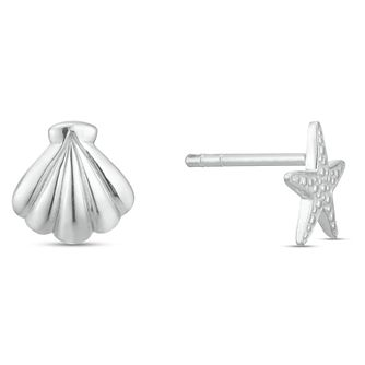 Sterling Silver Shell & Starfish Mismatched Stud Earrings - Product number 3961400