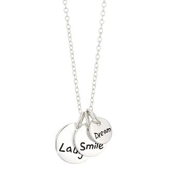 Sterling Silver Laugh Smile Dream Triple Disc Pendant - Product number 3961583