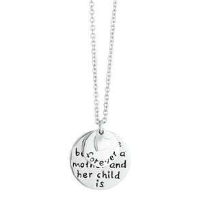 Silver Rhodium Disc & Heart Charm Family Pendant - Product number 3961613