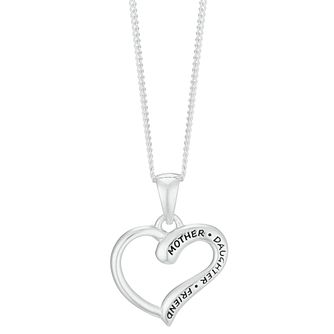 Sterling Silver Mother & Daughter Heart Pendant - Product number 3961680