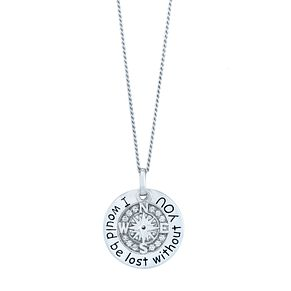 Sterling Silver Cubic Zirconia Compass Pendant - Product number 3961702