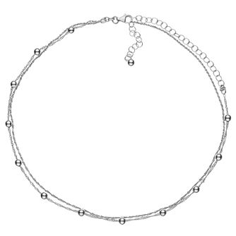 Sterling Silver Beaded Two Strand Choker - Product number 3961729