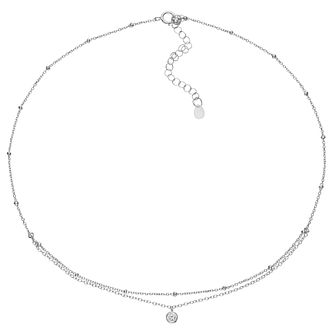 Sterling Silver Double Strand Single Cubic Zirconia Choker - Product number 3961737