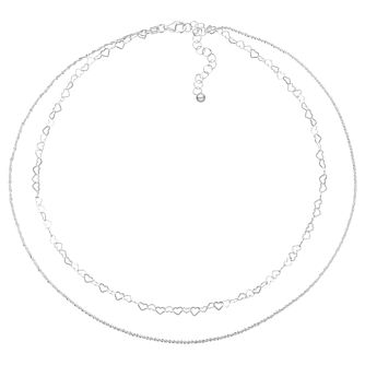 "Sterling Silver 14"" Double Strand Glitz & Heart Choker - Product number 3961788"