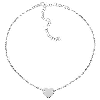 "Sterling Silver 14"" Heart Disc Choker - Product number 3961818"