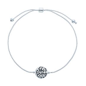 Sterling Silver 'Live Laugh Love' Adjustable Bracelet - Product number 3961877