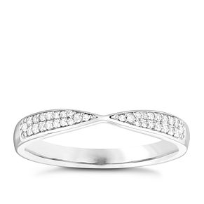 9ct White Gold 1/10ct Diamond Set Wedding Ring - Product number 3964833