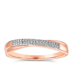 9ct Rose Gold Diamond Crossover Wedding Ring - Product number 3965104