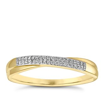 9ct Yellow Gold Diamond Crossover Wedding Ring - Product number 3965244