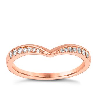 9ct Rose Gold 1/10ct Diamond Set Shaped Wedding Ring - Product number 3965376