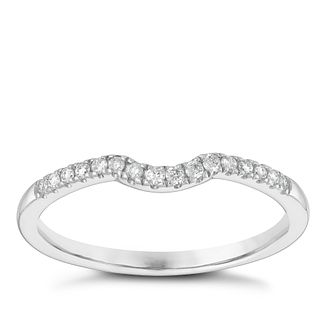 9ct White Gold 1/10ct Diamond Set Shaped Wedding Ring - Product number 3965546
