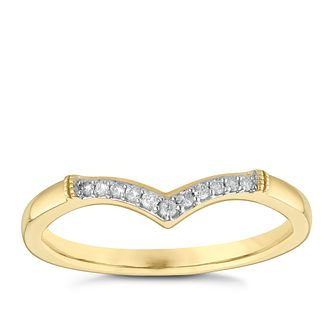 9ct Yellow Gold Diamond Set Wishbone Wedding Ring - Product number 3966356