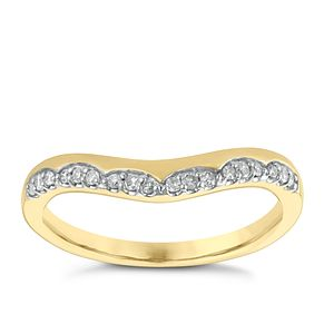 9ct Yellow Gold 1/10ct Diamond Set Shaped Wedding Ring - Product number 3966488
