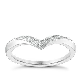 9ct White Gold Diamond Wishbone Milgrain Wedding Ring - Product number 3966747
