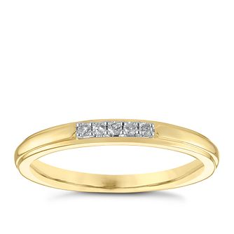 9ct Yellow Gold Diamond Set Wedding Ring - Product number 3967069
